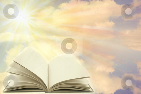 Open book    stock photo, Open book on a heavenly scene. Copy space. by Les Cunliffe