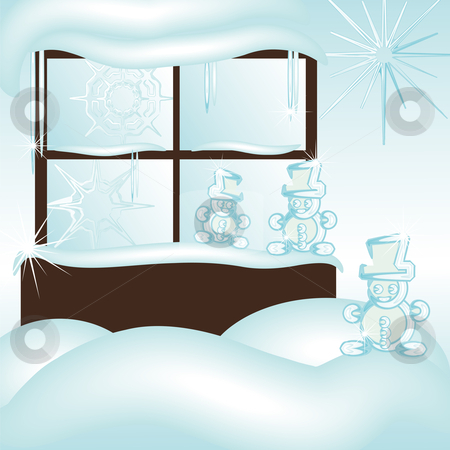 Snowman window stock vector clipart, Cristal frozen window covered with snow and snowmen by Karin Claus