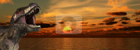 T Rex Sunrise stock photo, A Tyrannosaurus Rex roaring at a sunrise. by Chris Harvey