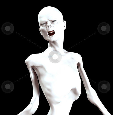 Thin Zombie stock photo, Image of a thin screaming Zombie for Halloween. by Chris Harvey