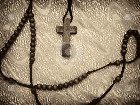 Rosary sepia toned stock photo, Sepia toned rosary with vignette,high contrast image, useful for various religious themes by Vladimir Koletic