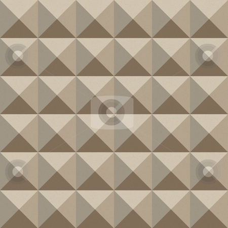 Sepia geometric pattern stock photo, Seamless texture of optical 3d cubes splitted in triangles by Wino Evertz
