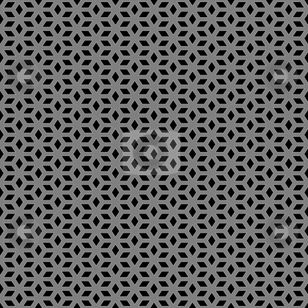 Metallic escher pattern stock photo, Seamless texture of ornamental silver pattern on black by Wino Evertz