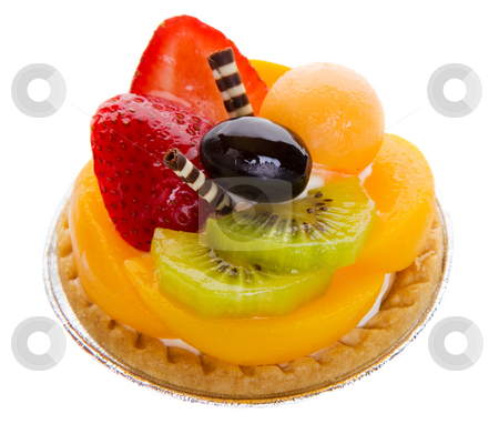 Fruit tart stock photo, Closeup of a glazed fruit tart on a white background by Steve Mcsweeny