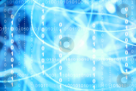 Blue coding stock photo, Binary codes on abstract blue background by Les Cunliffe