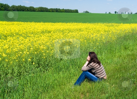 Spring landscape stock photo, Girl dreams admiring spring landscape by Salauyou Yury