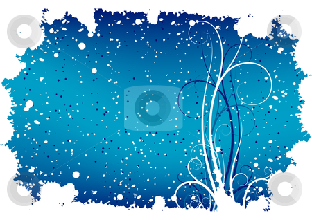 Abstract winter grunge background with flakes and scrolls stock vector clipart, Abstract winter grunge background with flakes and scrolls by Vadym Nechyporenko
