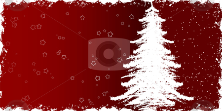 Christmas tree stock vector clipart, Abstract winter background with christmas tree and rays by Vadym Nechyporenko