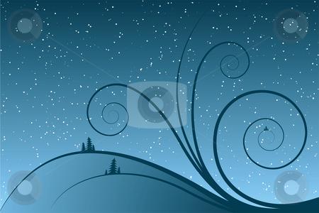 Abstract winter scrolls stock vector clipart, Abstract winter scrolls with snowflake and firtree by Vadym Nechyporenko