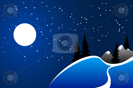 Winter background stock vector clipart, Winter background, moon, fir-tree silhouette, nature, snow by Vadym Nechyporenko