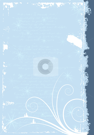 Grunge winter background stock vector clipart, Grunge winter background with scrolls and snowflakes by Vadym Nechyporenko