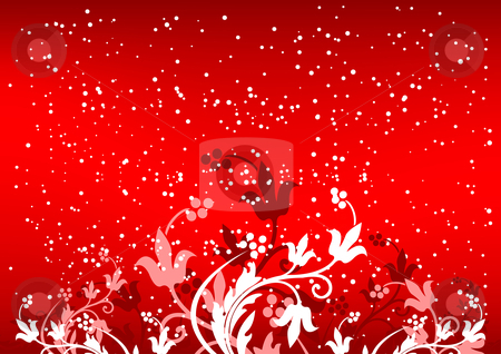 Abstract winterbackground with flakes and flowers in red color stock vector clipart, Abstract winterbackground with flakes and flowers in red color by Vadym Nechyporenko