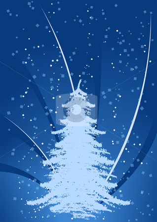 Background with Christmas tree stock vector clipart, Abstract background with Christmas tree and snow-flakes by Vadym Nechyporenko