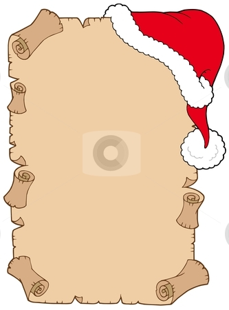 Parchment with Christmas hat stock vector clipart, Parchment with Christmas hat - vector illustration. by Klara Viskova
