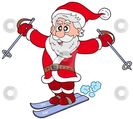 Skiing Santa Claus stock vector clipart, Skiing Santa Claus - vector illustration. by Klara Viskova