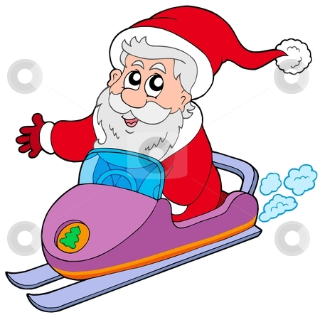Santa Claus on scooter stock vector clipart, Santa Claus on scooter - vector illustration. by Klara Viskova