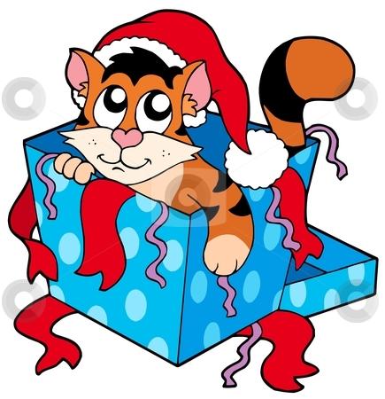 Cute Christmas cat stock vector clipart, Cute Christmas cat - vector illustration. by Klara Viskova