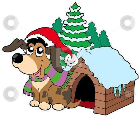 Cute Christmas dog stock vector clipart, Cute Christmas dog - vector illustration. by Klara Viskova