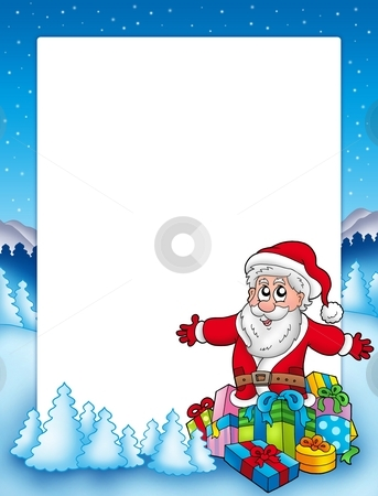 Frame with Santa and pile of gifts stock photo, Frame with Santa and pile of gifts - color illustration. by Klara Viskova