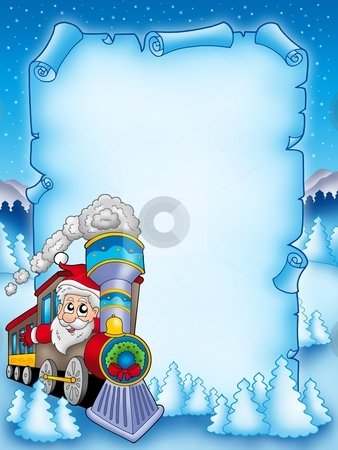 Christmas parchment with Santa Claus 2 stock photo, Christmas parchment with Santa Claus 2 - color illustration. by Klara Viskova