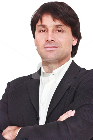Portrait of businessman stock photo, Portrait of businessman with crossed arms isolated on white by Natalia Macheda