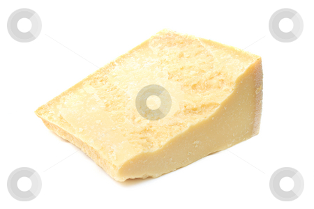 Piece of parmesan cheese stock photo, Piece of traditional parmesan cheese isolated on white by Natalia Macheda