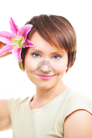 Positive woman with flower stock photo, Positive woman with flower isolated over white background by Natalia Macheda