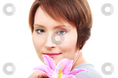 Elegant woman with flower stock photo, Elegant woman with flower isolated on white background by Natalia Macheda