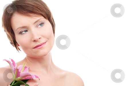 Healthy woman with flower stock photo, Healthy woman with flower isolated on white background by Natalia Macheda