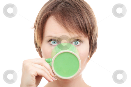 Tea time! stock photo, Funny young woman having cup of tea isolated on whiite by Natalia Macheda