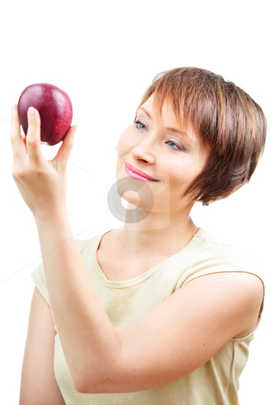 Healthy woman with apple stock photo, Healthy woman with red apple isolated on white by Natalia Macheda
