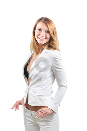 Happy sexy businesswoman stock photo, Happy sexy businesswoman with white suit isolated on white by Natalia Macheda