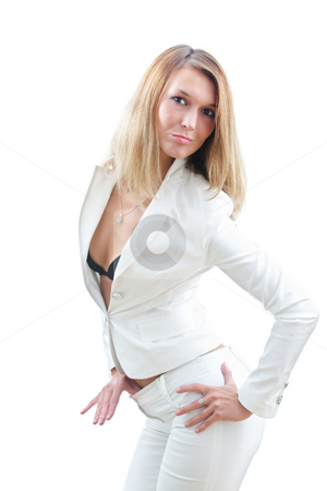 Sexy businesswoman stock photo, Sexy businesswoman with white suit isolated on white by Natalia Macheda