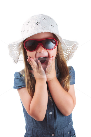 Pleasant surprise stock photo, Little girl expressing amazement isolated on white background by Natalia Macheda