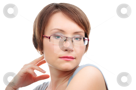 Woman with eye glasses stock photo, Close-up of young woman with glasses isolated over white by Natalia Macheda