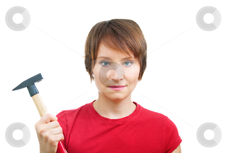 Enthusiastic woman with hammer stock photo, Enthusiastic woman with hammer isolated over white. Concept of independent woman by Natalia Macheda