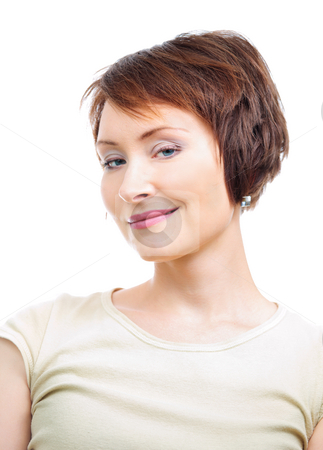 Positive young woman stock photo, Portrait of positive young woman isolated over white by Natalia Macheda
