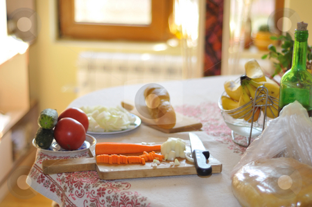 Vegetables for soup  stock photo, Cutted vegetables, carrot and onion for soup on the table by Zheko Zhekov