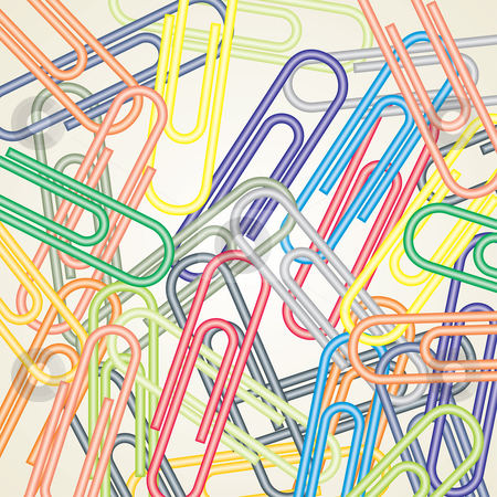 Paperclips stock vector clipart, Colored vector paperclips illustration for background by ojal_2