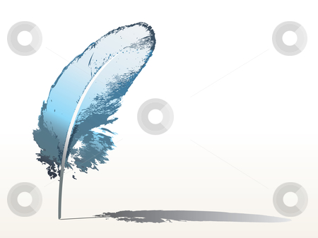 Blue feather stock vector clipart, Isolated detailed blue feather - vector by ojal_2