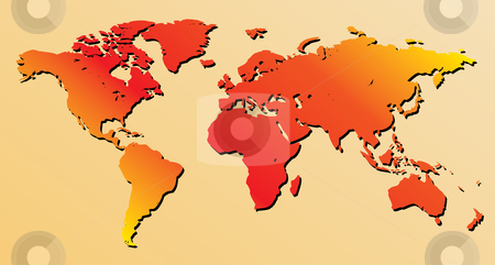 Red world map - vector stock vector clipart, Very detailed vector world map by ojal_2