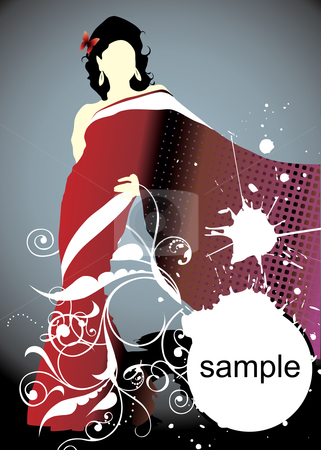 Woman silhouette stock vector clipart, Woman silhouette with butterfly (vector illustration) by ojal_2