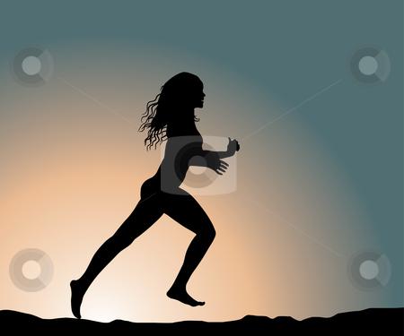 Running girl stock vector clipart, Running fitness girl (vector illustration) by ojal_2