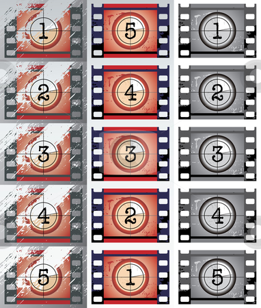 Film countdowns (vector) stock vector clipart, Grunge, black and white film countdowns (vector) by Ilyes Laszlo