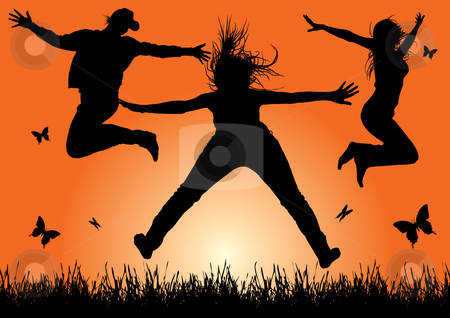 Happy peoples stock vector clipart, Happy energetic woman silhouettes jumping into the air (vector) by Ilyes Laszlo
