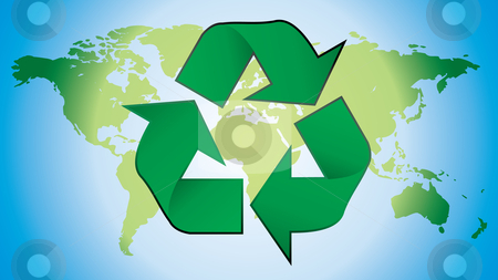 Recycling symbol stock vector clipart, Recycling symbol with world map in background by ojal_2