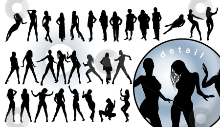 Human silhouettes stock vector clipart, Detailed human silhouettes (vector illustration) by ojal_2