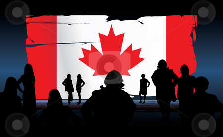 Canadian flag stock vector clipart, Silhouettes of people in front of an canadian flag by ojal_2