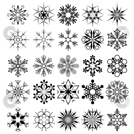 Vector snowflake collection stock vector clipart, Decorative design element for christmas by ojal_2