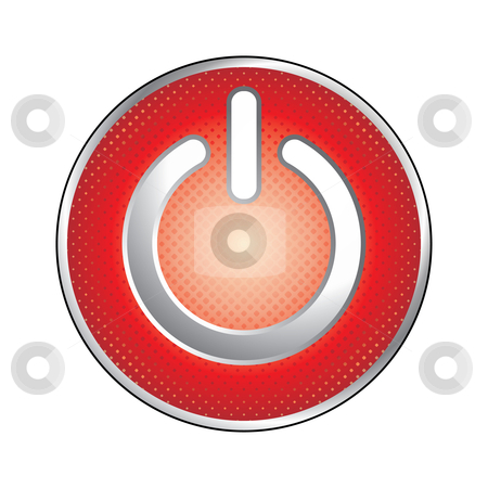 Red power button icon stock vector clipart, Red power button icon - vector illustration by Ilyes Laszlo